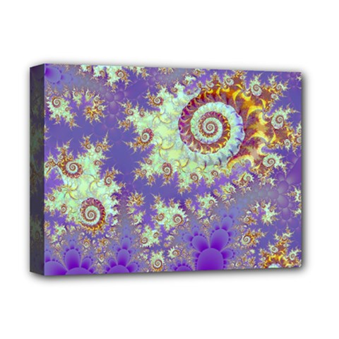 Sea Shell Spiral, Abstract Violet Cyan Stars Deluxe Canvas 16  X 12  (framed)  by DianeClancy