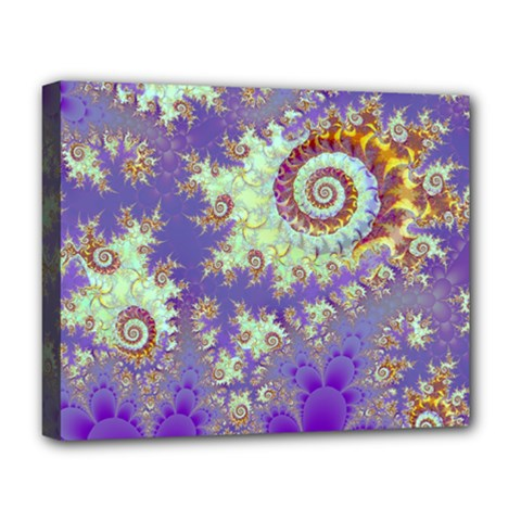 Sea Shell Spiral, Abstract Violet Cyan Stars Deluxe Canvas 20  X 16  (framed) by DianeClancy