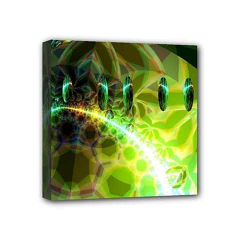 Dawn Of Time, Abstract Lime & Gold Emerge Mini Canvas 4  X 4  (framed) by DianeClancy