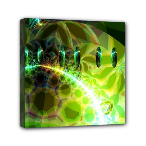 Dawn Of Time, Abstract Lime & Gold Emerge Mini Canvas 6  X 6  (framed) by DianeClancy