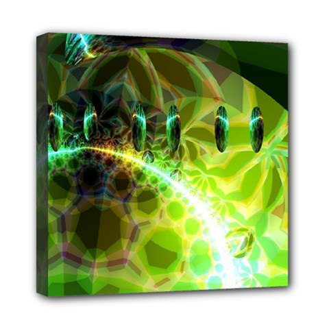 Dawn Of Time, Abstract Lime & Gold Emerge Mini Canvas 8  X 8  (framed) by DianeClancy