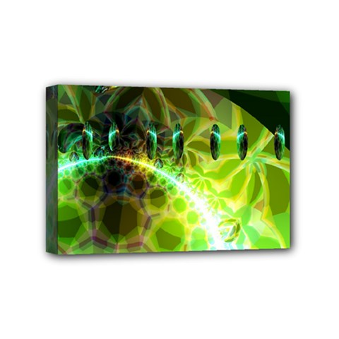 Dawn Of Time, Abstract Lime & Gold Emerge Mini Canvas 6  X 4  (framed) by DianeClancy
