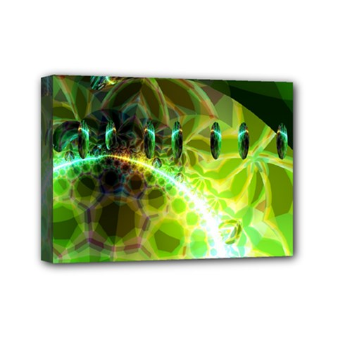 Dawn Of Time, Abstract Lime & Gold Emerge Mini Canvas 7  X 5  (framed) by DianeClancy