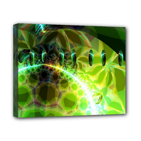 Dawn Of Time, Abstract Lime & Gold Emerge Canvas 10  X 8  (framed) by DianeClancy