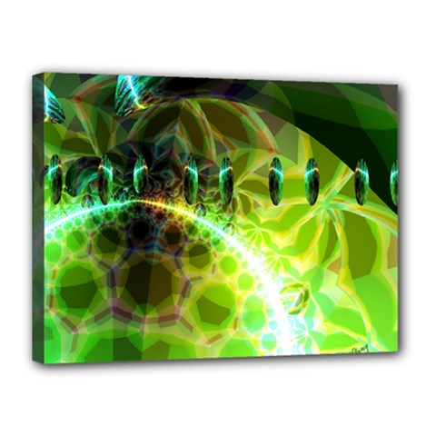 Dawn Of Time, Abstract Lime & Gold Emerge Canvas 16  X 12  (framed) by DianeClancy