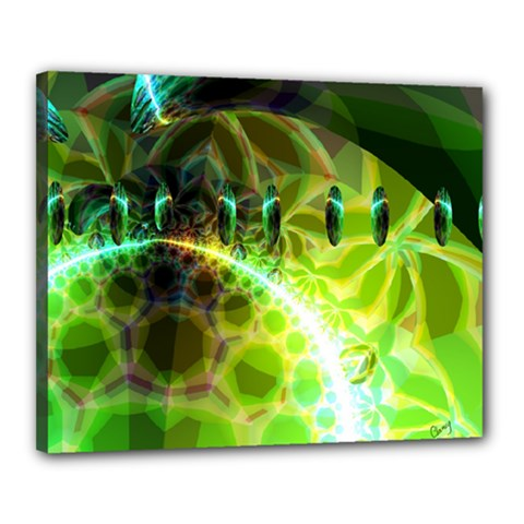 Dawn Of Time, Abstract Lime & Gold Emerge Canvas 20  X 16  (framed) by DianeClancy
