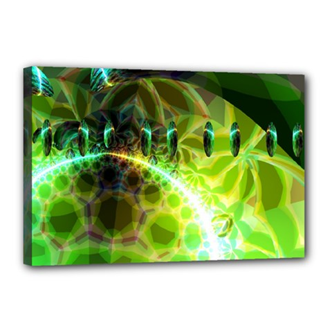 Dawn Of Time, Abstract Lime & Gold Emerge Canvas 18  X 12  (framed) by DianeClancy