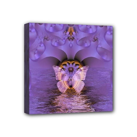 Artsy Purple Awareness Butterfly Mini Canvas 4  X 4  (framed) by FunWithFibro