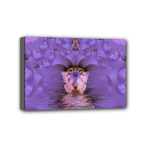 Artsy Purple Awareness Butterfly Mini Canvas 6  X 4  (framed) by FunWithFibro