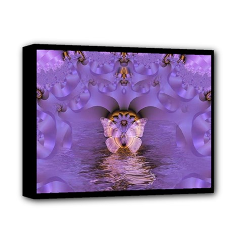Artsy Purple Awareness Butterfly Deluxe Canvas 14  X 11  (framed) by FunWithFibro