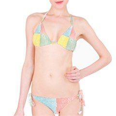 Pastel Textured Squares Bikini by StuffOrSomething