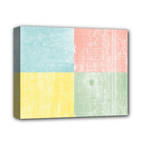 Pastel Textured Squares Deluxe Canvas 14  X 11  (framed) by StuffOrSomething
