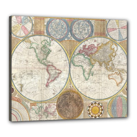 1794 World Map Canvas 24  X 20  (framed)