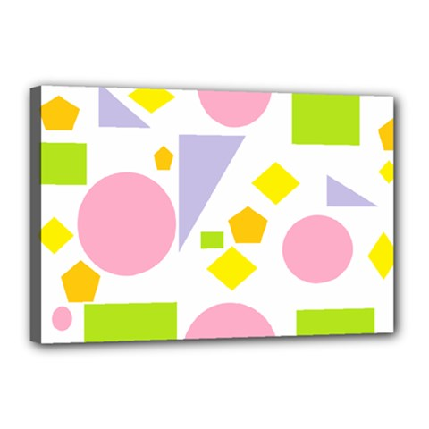 Spring Geometrics Canvas 18  X 12  (framed) by StuffOrSomething
