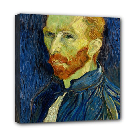 Vincent Van Gogh Self Portrait With Palette Mini Canvas 8  X 8  (framed) by MasterpiecesOfArt