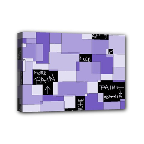 Purple Pain Modular Mini Canvas 7  X 5  (framed) by FunWithFibro