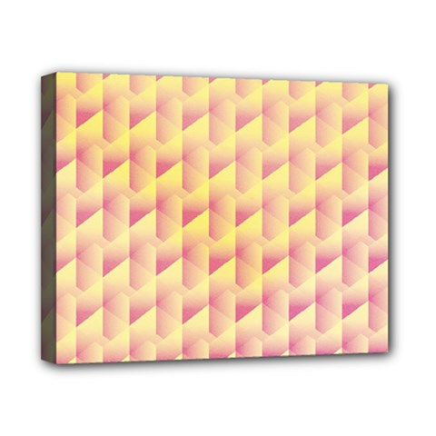Geometric Pink & Yellow  Canvas 10  X 8  (framed)