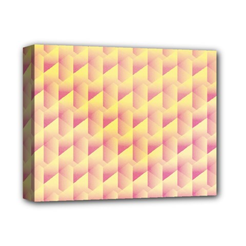 Geometric Pink & Yellow  Deluxe Canvas 14  X 11  (framed) by Zandiepants