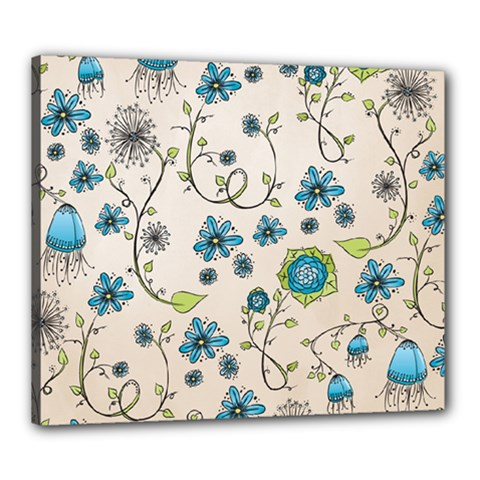 Whimsical Flowers Blue Canvas 24  X 20  (framed) by Zandiepants