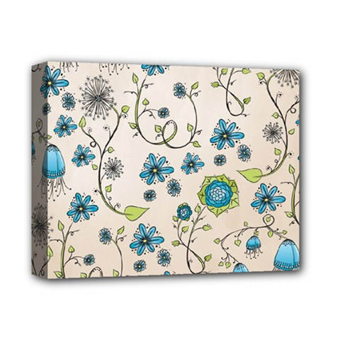 Whimsical Flowers Blue Deluxe Canvas 14  X 11  (framed) by Zandiepants