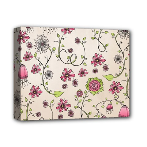 Pink Whimsical Flowers On Beige Deluxe Canvas 14  X 11  (framed) by Zandiepants