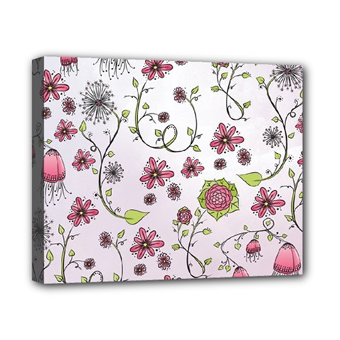 Pink Whimsical Flowers On Pink Canvas 10  X 8  (framed) by Zandiepants