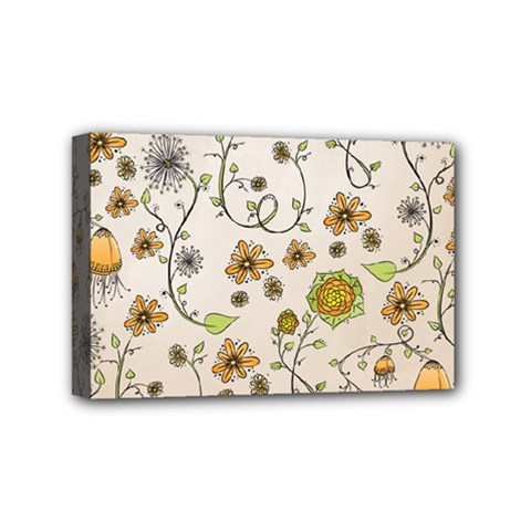 Yellow Whimsical Flowers  Mini Canvas 6  X 4  (framed) by Zandiepants