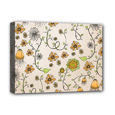 Yellow Whimsical Flowers  Deluxe Canvas 16  X 12  (framed)  by Zandiepants