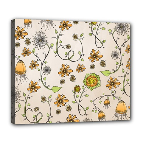 Yellow Whimsical Flowers  Deluxe Canvas 24  X 20  (framed) by Zandiepants
