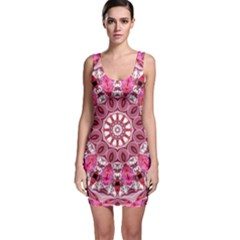 Twirling Pink, Abstract Candy Lace Jewels Mandala Bodycon Dress