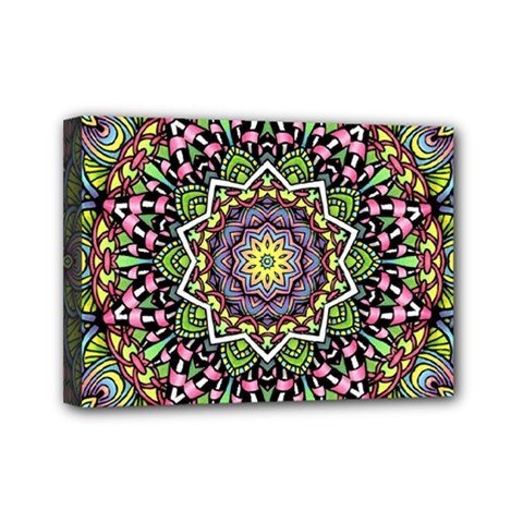 Psychedelic Leaves Mandala Mini Canvas 7  X 5  (framed) by Zandiepants