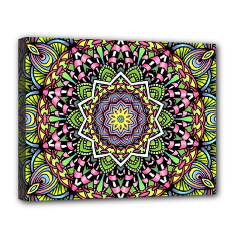 Psychedelic Leaves Mandala Canvas 14  X 11  (framed) by Zandiepants