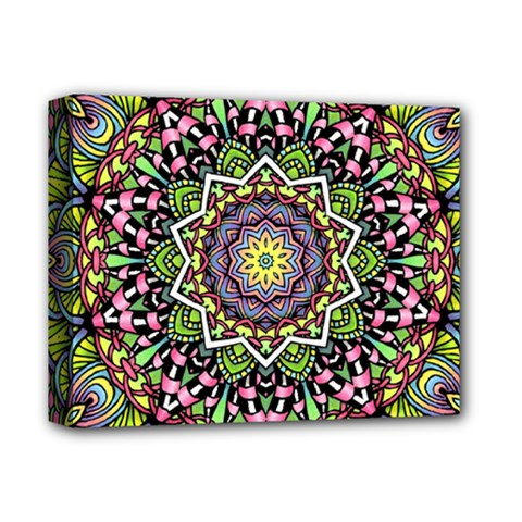 Psychedelic Leaves Mandala Deluxe Canvas 14  X 11  (framed) by Zandiepants