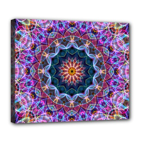 Purple Lotus Deluxe Canvas 24  X 20  (framed) by Zandiepants
