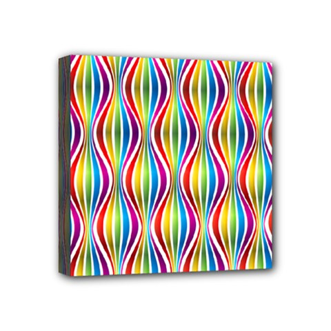 Rainbow Waves Mini Canvas 4  X 4  (framed) by Colorfulplayground