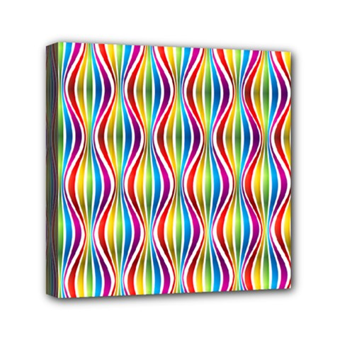 Rainbow Waves Mini Canvas 6  X 6  (framed) by Colorfulplayground