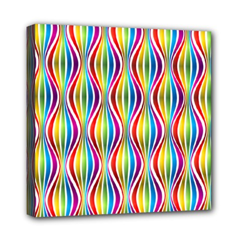 Rainbow Waves Mini Canvas 8  X 8  (framed) by Colorfulplayground