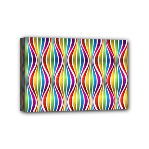 Rainbow Waves Mini Canvas 6  X 4  (framed) by Colorfulplayground