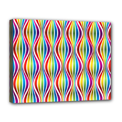 Rainbow Waves Canvas 14  X 11  (framed) by Colorfulplayground