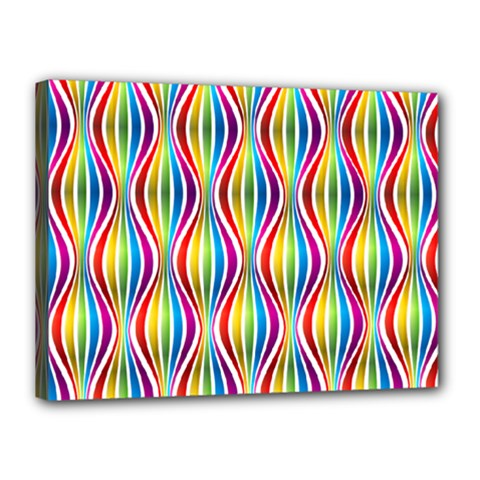 Rainbow Waves Canvas 16  X 12  (framed) by Colorfulplayground
