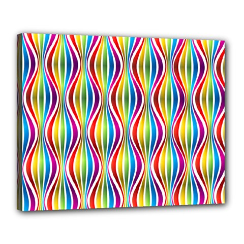 Rainbow Waves Canvas 20  X 16  (framed) by Colorfulplayground