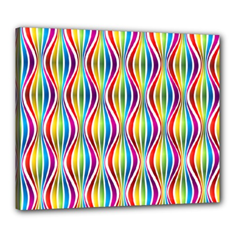 Rainbow Waves Canvas 24  X 20  (framed) by Colorfulplayground