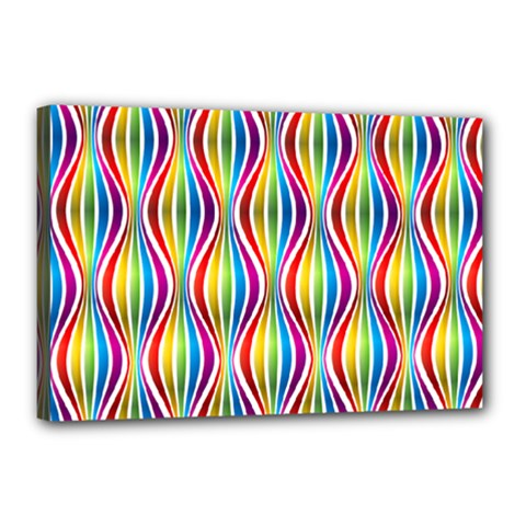 Rainbow Waves Canvas 18  X 12  (framed) by Colorfulplayground