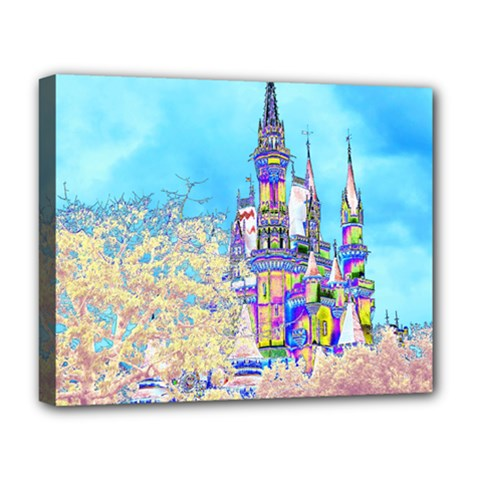 Castle For A Princess Deluxe Canvas 20  X 16  (framed) by rokinronda