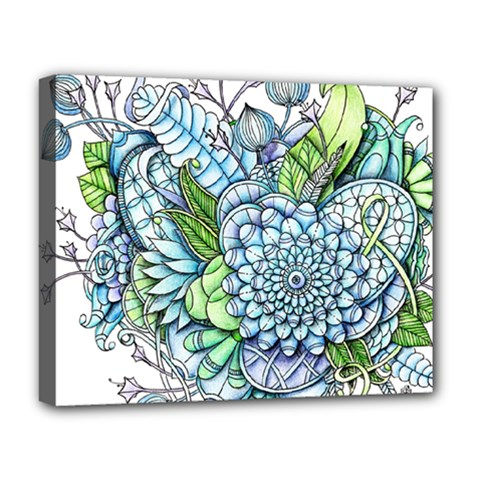 Peaceful Flower Garden 2 Deluxe Canvas 20  X 16  (framed) by Zandiepants