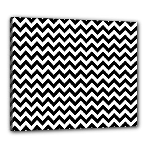 Black And White Zigzag Canvas 24  X 20  (framed)