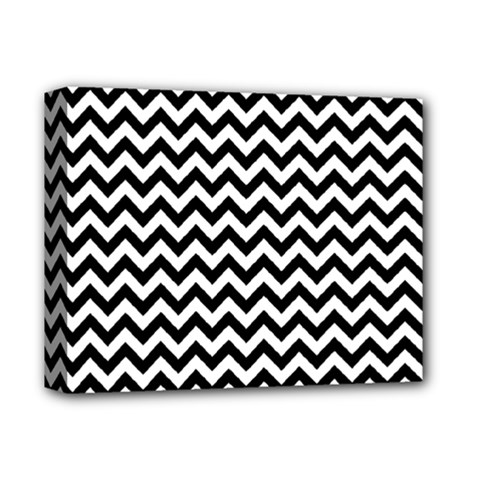 Black And White Zigzag Deluxe Canvas 14  X 11  (framed) by Zandiepants