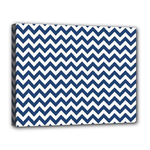 Dark Blue And White Zigzag Canvas 14  X 11  (framed) by Zandiepants