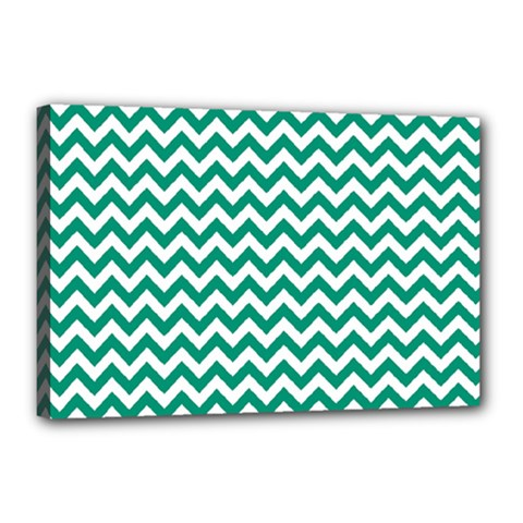 Emerald Green And White Zigzag Canvas 18  X 12  (framed) by Zandiepants