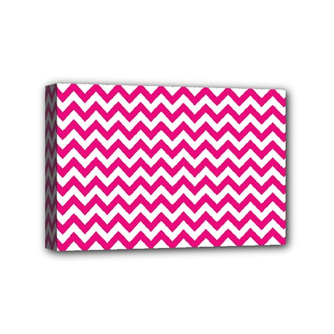 Hot Pink And White Zigzag Mini Canvas 6  X 4  (framed) by Zandiepants